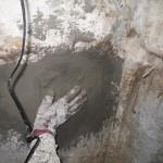 ⑤削孔注入跡止水セメント塗りつけ仕上げ